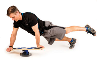 Hold Plank on Extreme Balance Board With One Leg Up