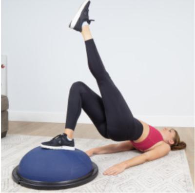 Girl Doing Single Leg Bridge on Balance Trainer