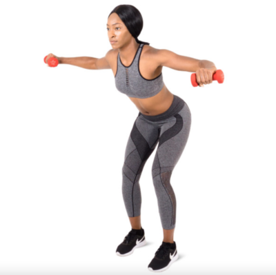 woman doing rear felt flys with a pair of red 3 lb. neoprene dumbbells