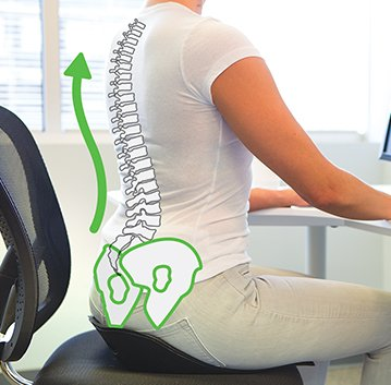 Woman sitting with her spine aligned by sitting on back joy