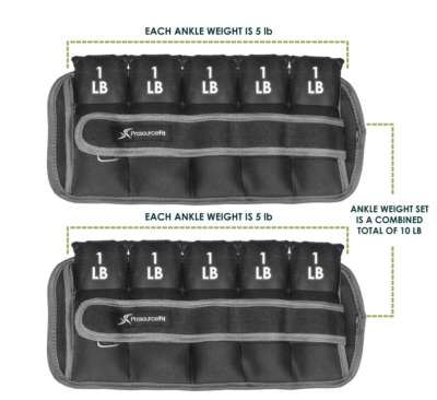 10 lb. adjustable ankle weights