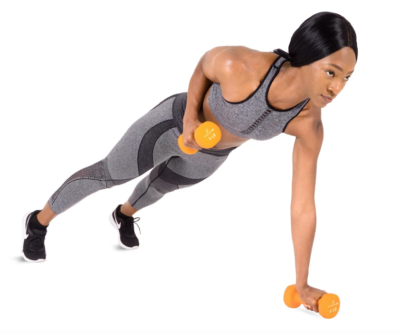 woman doing rows in a plank with 6 lb. pair of neoprene dumbbells