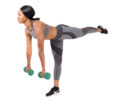 woman standing on one leg with one leg extended holding a 9 lb. neoprene dumbbells
